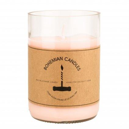 Přírodní vonná svíčka sójová - AROMKA - Láhev od vína, 290 ml - Rosé
