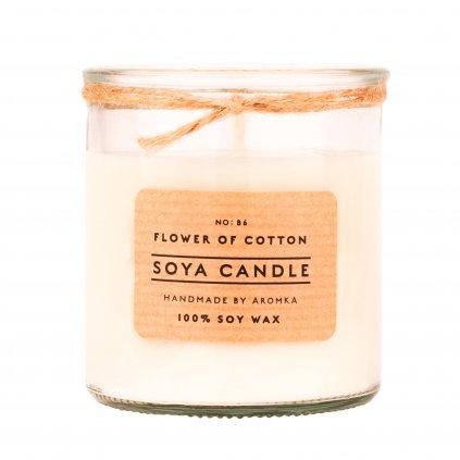 Přírodní vonná svíčka sójová - AROMKA - Recyklované sklo, 180 ml - Květ Bavlny