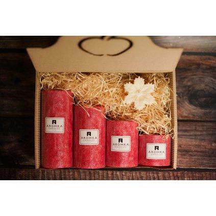 Vánoční balení - AROMKA - Set 4 válců s vločkou, průměr 6,4 cm - Vánoční Punč
