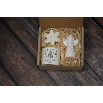 Vánoční balení - AROMKA - Válec, průměr 5,4 cm, Vločka, Keramický anděl - Vanilka