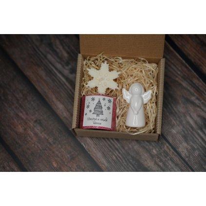 Vánoční balení - AROMKA - Válec, průměr 5,4 cm - Vločka, Keramický anděl - Vánoční Punč