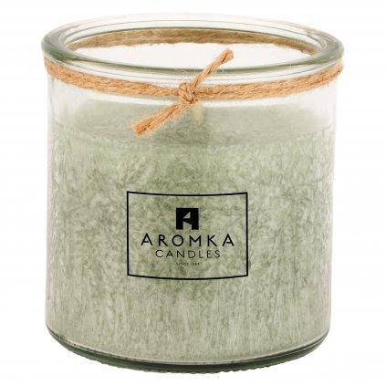 Přírodní vonná svíčka palmová - AROMKA - Recyklované sklo, 140 ml - Kopřiva