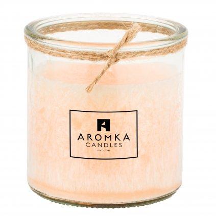 Přírodní vonná svíčka palmová - AROMKA - Recyklované sklo, 140 ml - Litsea Cubeba