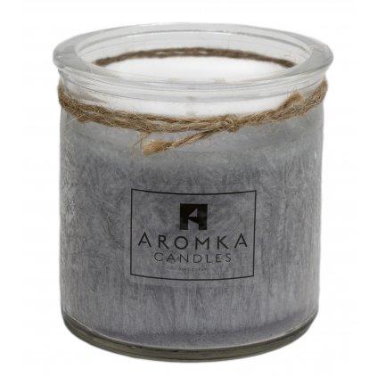 Přírodní vonná svíčka palmová - AROMKA - Recyklované sklo, 250 ml - Pánský Parfém