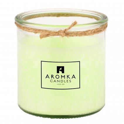 Přírodní vonná svíčka palmová - AROMKA - Recyklované sklo, 140 ml - Mango a Papaya