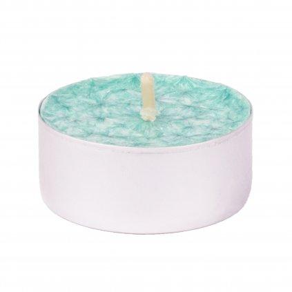 Přírodní vonná svíčka palmová - AROMKA - Set 10 ks čajových svíček v plechu - Aloe Vera