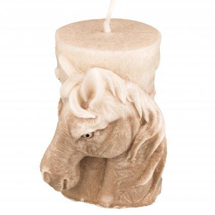 Přírodní vonná svíčka palmová - AROMKA - Kůň válec-hnědobílý