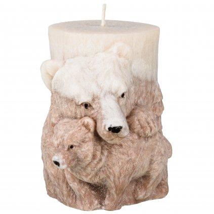 Přírodní vonná svíčka palmová - AROMKA - Medvěd válec - hnědobílý