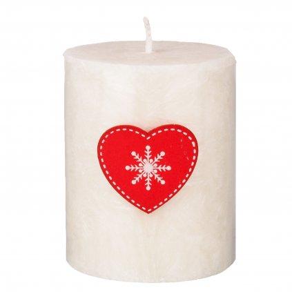 Přírodní vonná svíčka palmová - AROMKA - Válec s vánoční ozdobou - Průměr 5,4 cm, výška 7 cm - Květ Bavlny