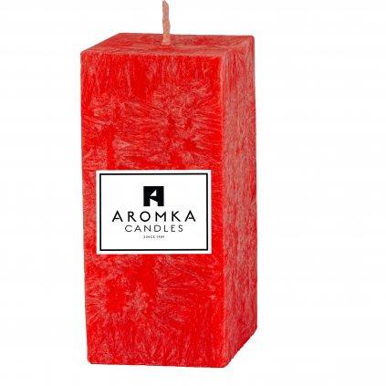 Přírodní vonná svíčka palmová - AROMKA - Hranolek úzký - Průměr 4,5 cm, Výška 7 cm - Vánoční Punč
