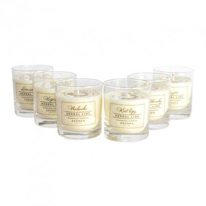 Přírodní vonná svíčka sójová - AROMKA - Set 6 ks bylinkových whiskovek s čirým štítkem