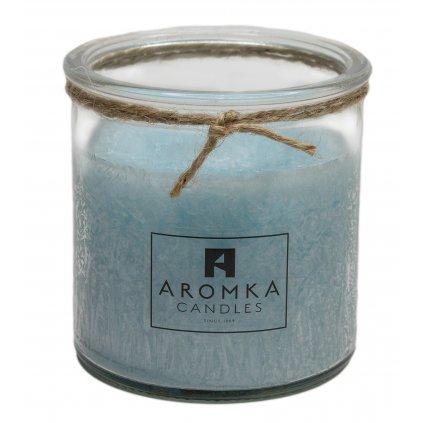 Přírodní vonná svíčka palmová - AROMKA - Recyklované sklo, 250 ml - Bílý Čaj