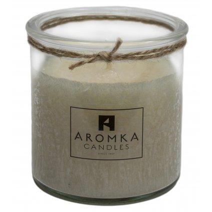 Přírodní vonná svíčka palmová - AROMKA - Recyklované sklo, 250 ml - Zázvor