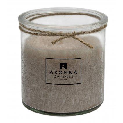 Přírodní vonná svíčka palmová - AROMKA - Recyklované sklo, 250 ml - Vanilka