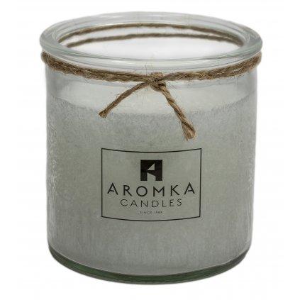 Přírodní vonná svíčka palmová - AROMKA - Recyklované sklo, 250 ml - Květ Bavlny