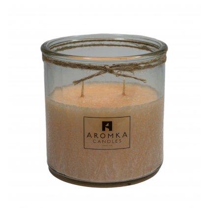 Přírodní vonná svíčka palmová - AROMKA - Recyklované sklo, 500 ml - Litsea Cubeba