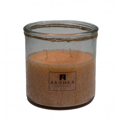 Přírodní vonná svíčka palmová - AROMKA - Recyklované sklo, 500 ml - Lady