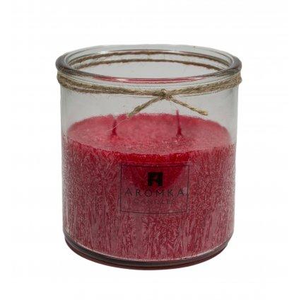Přírodní vonná svíčka palmová - AROMKA - Recyklované sklo, 500 ml - Vánoční Punč