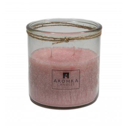 Přírodní vonná svíčka palmová - AROMKA - Recyklované sklo, 500 ml - Brazilská Papaya