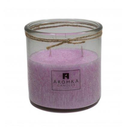 Přírodní vonná svíčka palmová - AROMKA - Recyklované sklo, 500 ml - Dámský Parfém