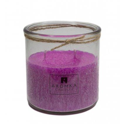 Přírodní vonná svíčka palmová - AROMKA - Recyklované sklo, 500 ml - Divoká Brusinka