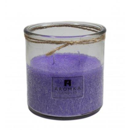Přírodní vonná svíčka palmová - AROMKA - Recyklované sklo, 500 ml - Levandule