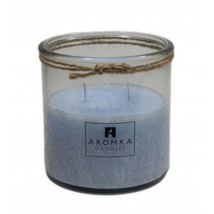 Přírodní vonná svíčka palmová - AROMKA - Recyklované sklo, 500 ml - Bílý Čaj