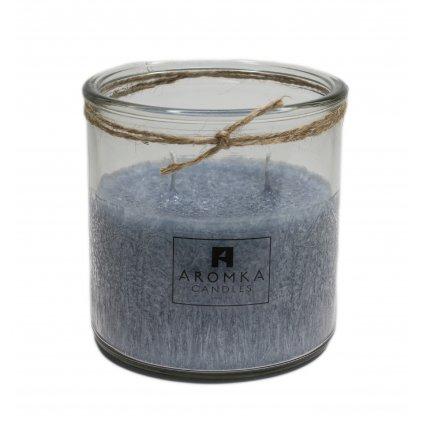 Přírodní vonná svíčka palmová - AROMKA - Recyklované sklo, 500 ml - Ambra