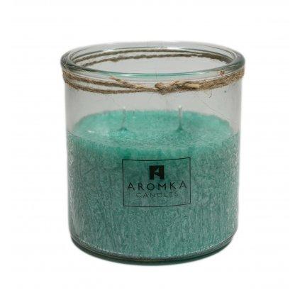 Přírodní vonná svíčka palmová - AROMKA - Recyklované sklo, 500 ml - Aloe Vera