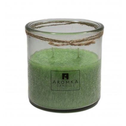 Přírodní vonná svíčka palmová - AROMKA - Recyklované sklo, 500 ml - Květ Lípy