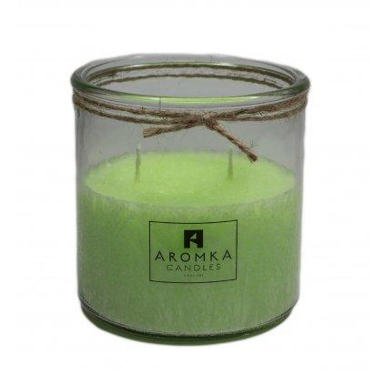 Přírodní vonná svíčka palmová - AROMKA - Recyklované sklo, 500 ml - Mango a papaya
