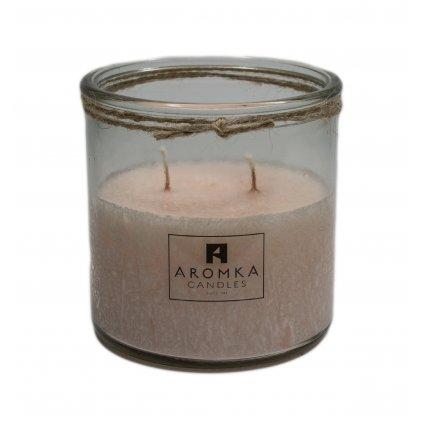 Přírodní vonná svíčka palmová - AROMKA - Recyklované sklo, 500 ml - Zázvor