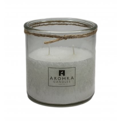 Přírodní vonná svíčka palmová - AROMKA - Recyklované sklo, 500 ml - Květ Bavlny