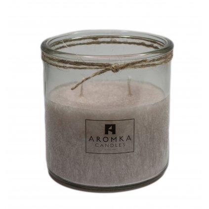 Přírodní vonná svíčka palmová - AROMKA - Recyklované sklo, 500 ml - Santalové Dřevo