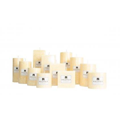 Přírodní vonná svíčka palmová - AROMKA - Kaskáda 8 válců a 4 hranoly v průmyslovém balení - Měsíček Lékařský