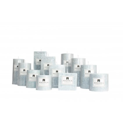 Přírodní vonná svíčka palmová - AROMKA - Kaskáda 8 válců a 4 hranoly v průmyslovém balení - Ambra