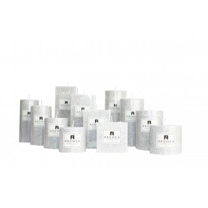 Přírodní vonná svíčka palmová - AROMKA - Kaskáda 8 válců a 4 hranoly v průmyslovém balení - Pánský Parfém
