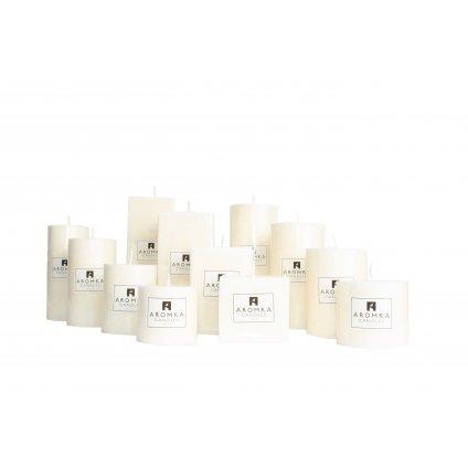 Přírodní vonná svíčka palmová - AROMKA - Kaskáda 8 válců a 4 hranoly v průmyslovém balení - Čisté Prádlo