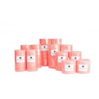 Přírodní vonná svíčka palmová - AROMKA - Sada 12 válců v průmyslovém balení - Rubínové Jablko