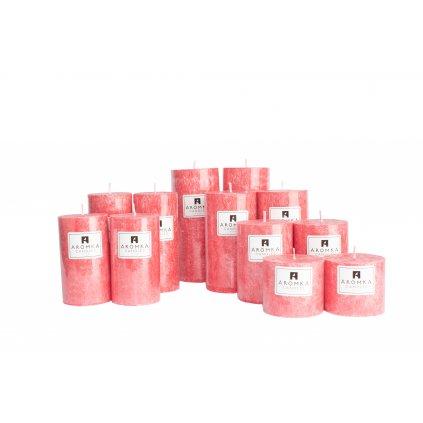 Přírodní vonná svíčka palmová - AROMKA - Sada 12 válců v průmyslovém balení - Vánoční Punč