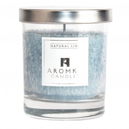 Přírodní vonná svíčka palmová - AROMKA - Whiskovka - Stříbrné víčko, 250 ml - Ambra