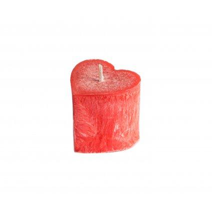 Přírodní vonná svíčka palmová - AROMKA - SRDÍČKO VALENTÝN - Malé - Růže