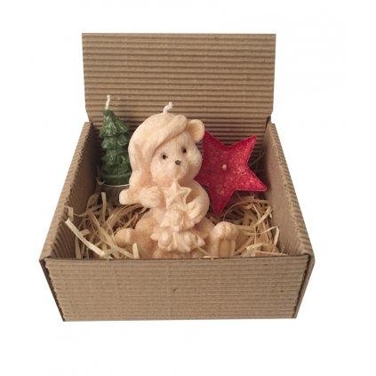 Přírodní vonná svíčka palmová - AROMKA - Vánoční dárkové balení - Vanilka
