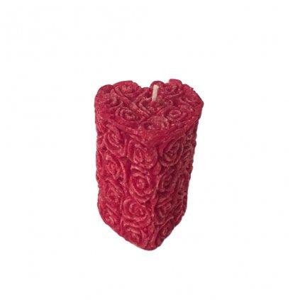 Přírodní vonná svíčka palmová - AROMKA -  Srdce Květinkové - Růže