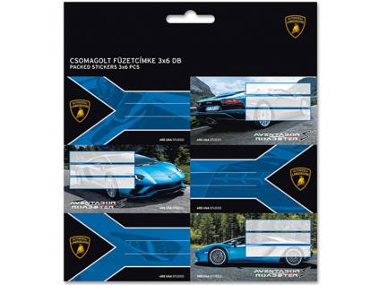 Jmenovky na sešity Lamborghini 18 18ks