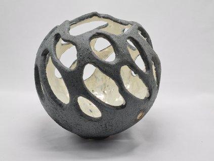 Keramická koule šedá do zahrady