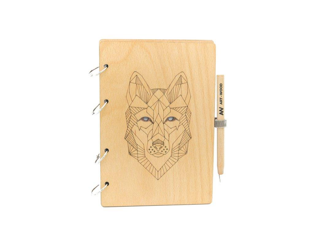 Dřevěný zápisník - vlk