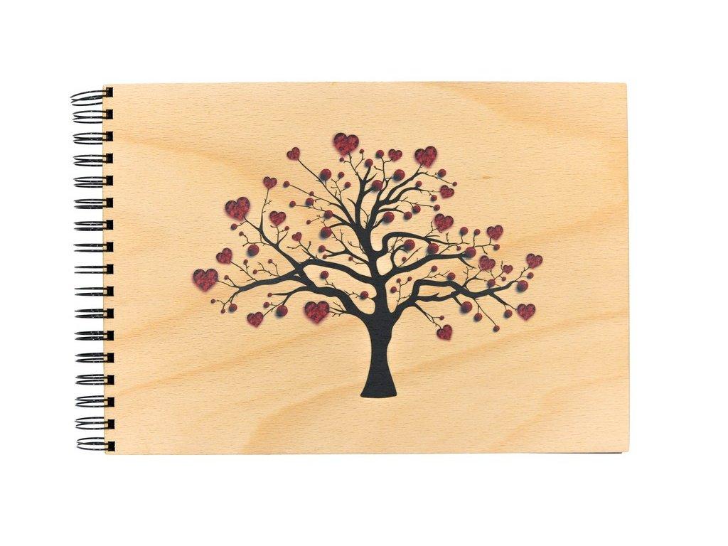 Dřevěné fotoalbum - strom lásky