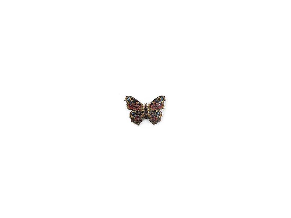 Dřevěná brož - motýl Babočka paví oko