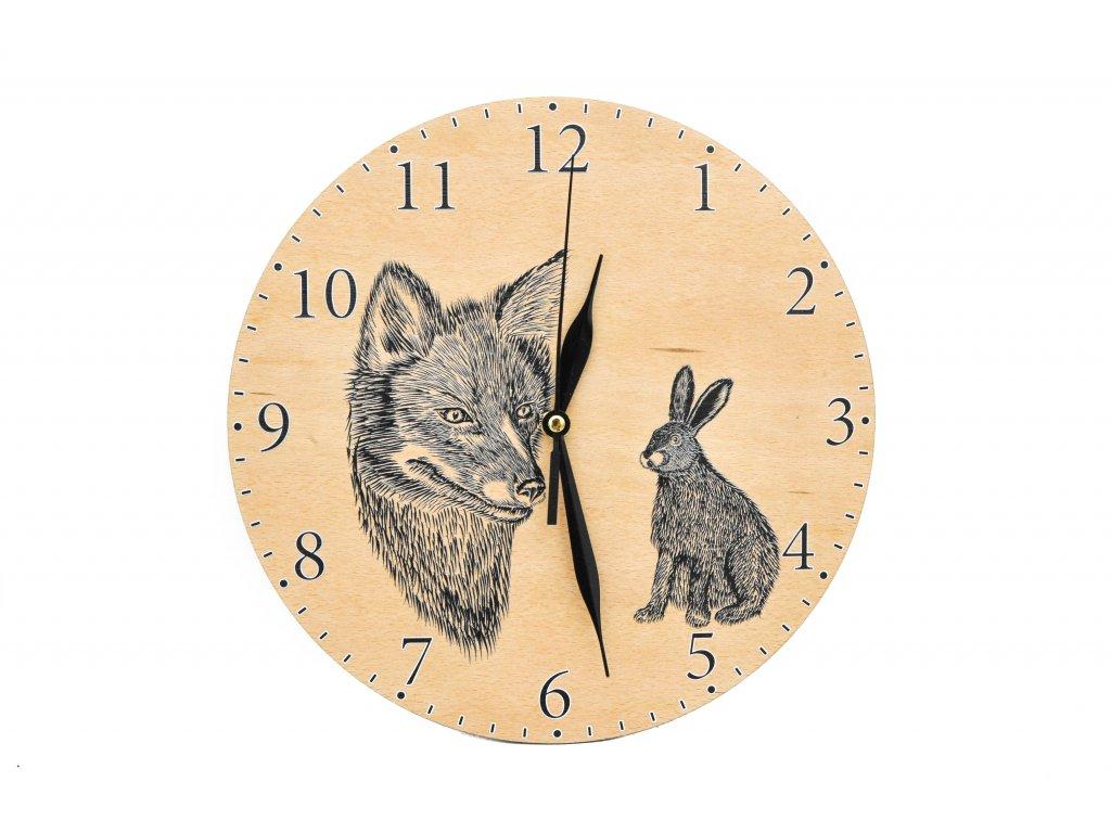 Nástěnné dřevěné hodiny - liška